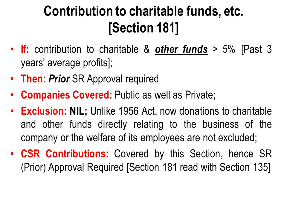 Contribution to charitable funds, etc. [Section 181]